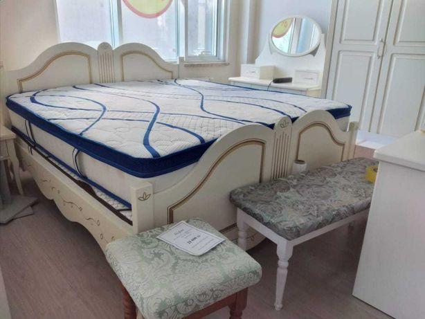 Спальный гарнитур МДФ с патиной золото, бук бежевый «Прованс»