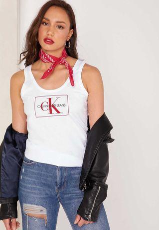 CALVIN KLEIN-XS/S/M-Оригинален дамски бял памучен потник