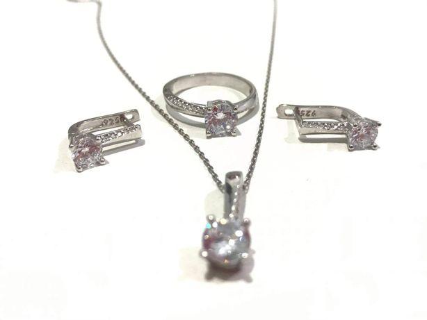 Set bijuterii argint Cristal - lant, pandantiv, cercei, inel