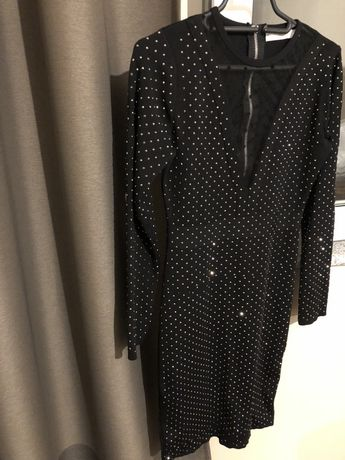 Черна дамска рокля с камъни