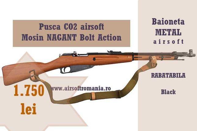 Pusca CO2 Mosin NAGANT Bolt Action cu baioneta airsoft calibru 6mm