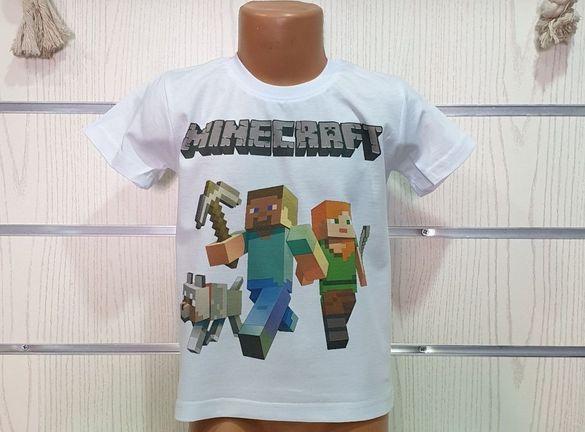 Нова детска тениска minecraft 4г 6г 8г 10г 12г 14г