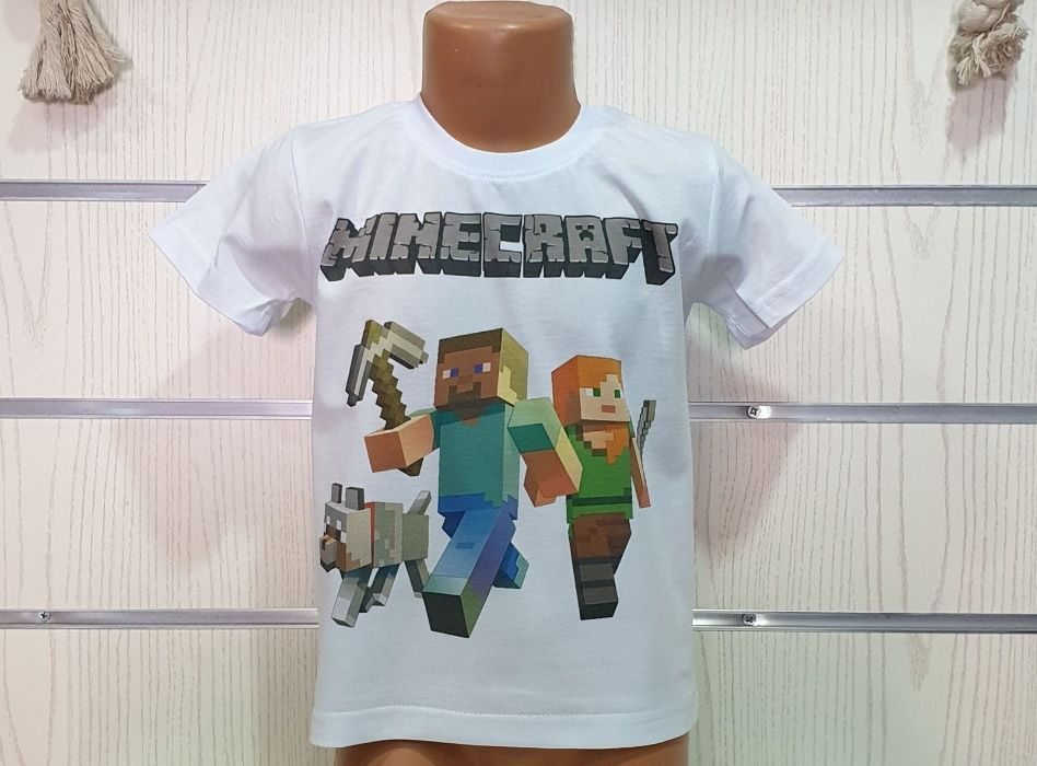 Нова детска тениска Minecraft, Майнкрафт 4г 6г 8г 10г 12г 14г