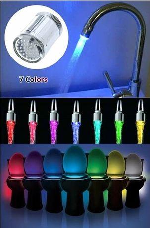 Cap luminos LED 7 culori_robinet chiuveta + CADOU: LightBowl 45 RON!
