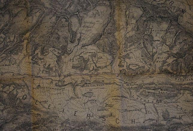 Harta veche 1889 a muntilor Karwendel-Gebirges -zona Tirol