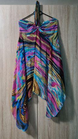 Rochie vară, fără bretele, mărime M-L, multicolor: roz albastru galben
