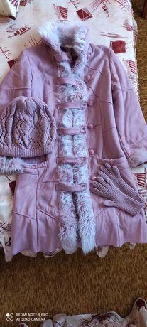 Палто+шапка,ръкавици,плетено поло
