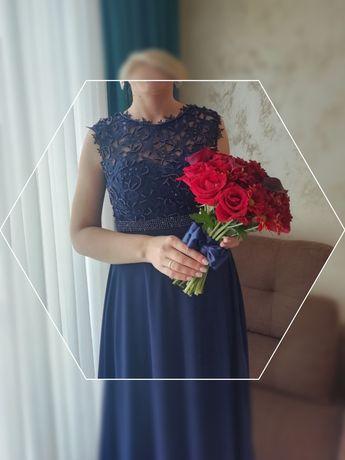 Официална рокля в тъмно синьо, с камъни и перли