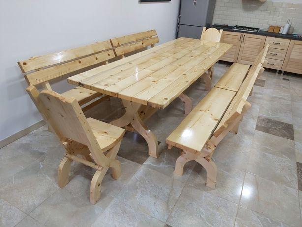 Masa cu 4 banci1.5m + 2 scaune (Mobilier rustic)