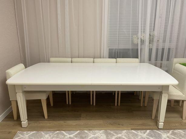 Стол для гостинной 2.4-3 м из мдф цвет белый