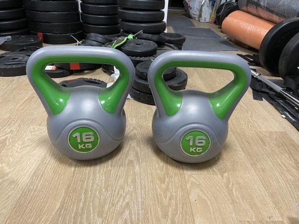 Gantere ketlebell noi made in Germany, 16+16=32 kg noi pret 300 ron