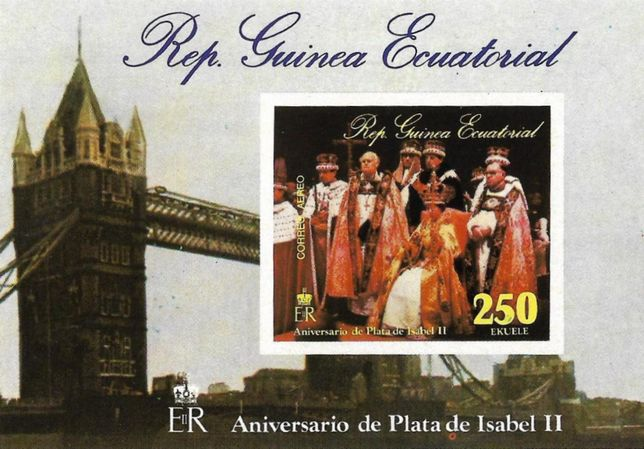 Super timbre colita nestampilata Guinea Ecuatorial Regina Elisabeta II