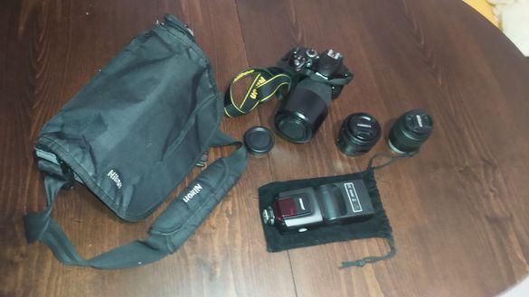 Nikon d3200 с 2 обектива и светкавица