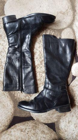 Cizme din piele naturală, negre, cu talpă joasă, îmblănite, mărime 38