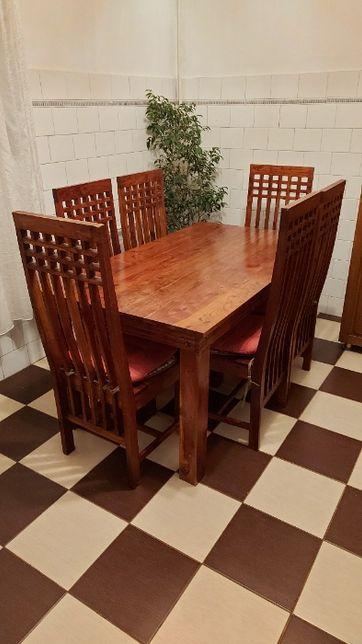 Masa bucatarie + 6 scaune - lemn masiv de cires - rezistent la uzura