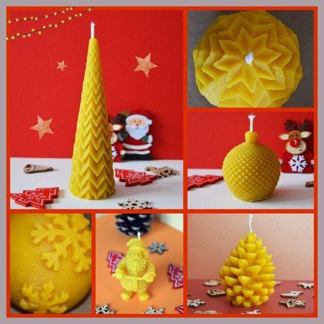 Коледни свещи от 100% пчелен восък