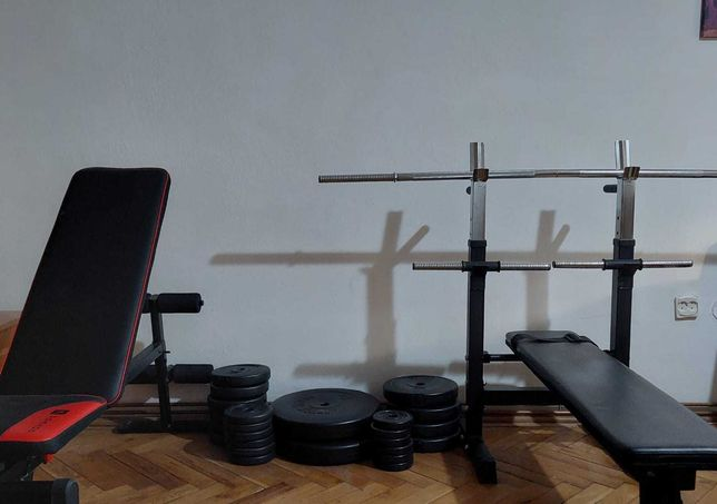 Set greutăți 80 kg + 2 Bănci Fitness