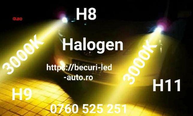 Becuri Halogen H3,H8,H9,H11,H16(lumină galbenă ceață proectoare 3000K)