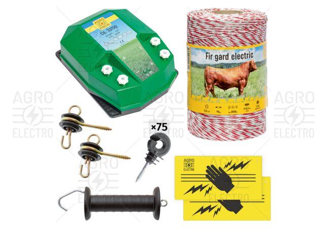 Pachet de bază gard electric 500 m, 3,2 J, pentru animale domestice