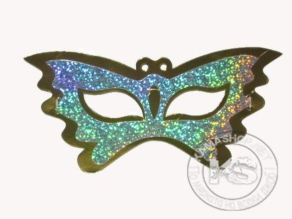"Маска домино - тип ""Пеперуда"" (холограмно - 6 бр в опаковка)"