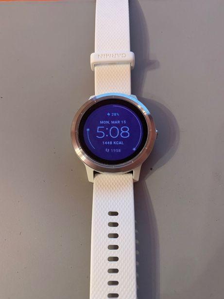 Ceas smartwatch Garmin Vivoactive 3, HR, GPS, Silver, Silicone White