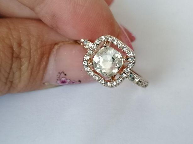 GPA29, inel placat aur 14k, model deosebit, logodna zirconiu alb