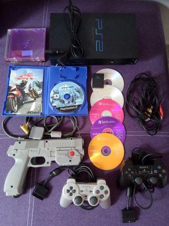 PS2 PlayStation 2 + 11 игри + 1 джойстика + Конзола комплект