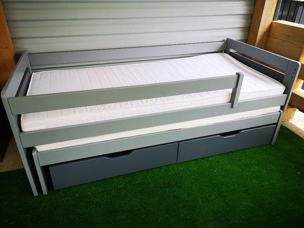 Pat copii , dublu, cu sertare, saltele incluse 90x200 cm, lemn masiv