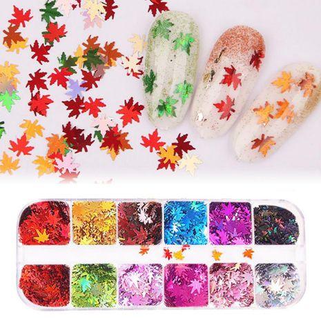 Палитра 12 цвята есенни листа за декорация на маникюр
