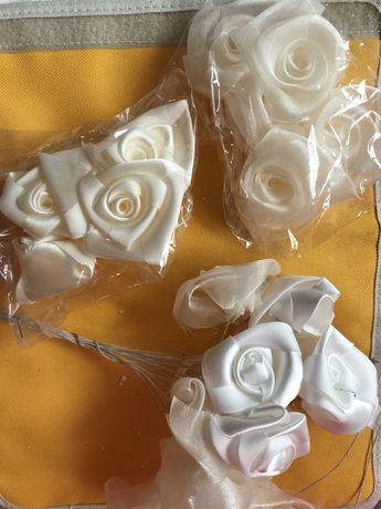 Рози от органза и сатен - цвят шампанско
