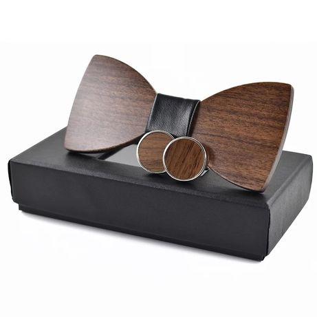 Set papion + butoni din lemn