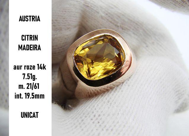 inel aur 14k barbatesc ghiul aur cu citrin de madeira unicat