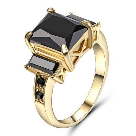 GR422,inel placat aur 14k, model masiv, logodna, zirconiu negru