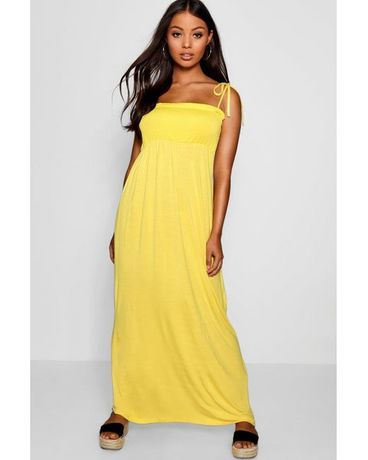 Boohoo Лятна,плажна рокля.Жълта,дълга рокля с връзки.UK12,US8