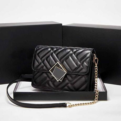 Дамска чанта през рамо с верижка - в бял и черен цвят