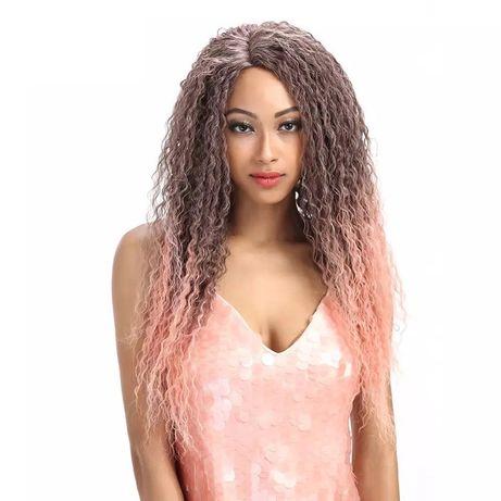 Peruca F89 FRONT LACE satena roz afro maro castanie mov Pink creata