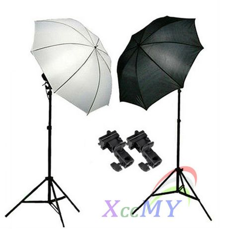 НОВ комплект - 2 чадъра + стативи/държачи за светкавица за фото студио