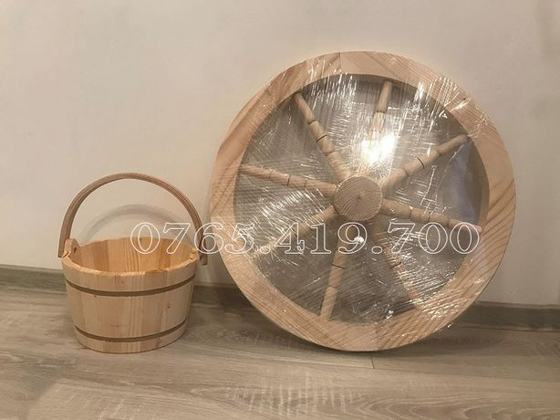 Set roata din lemn decorativa - galeata de lemn pentru fantana