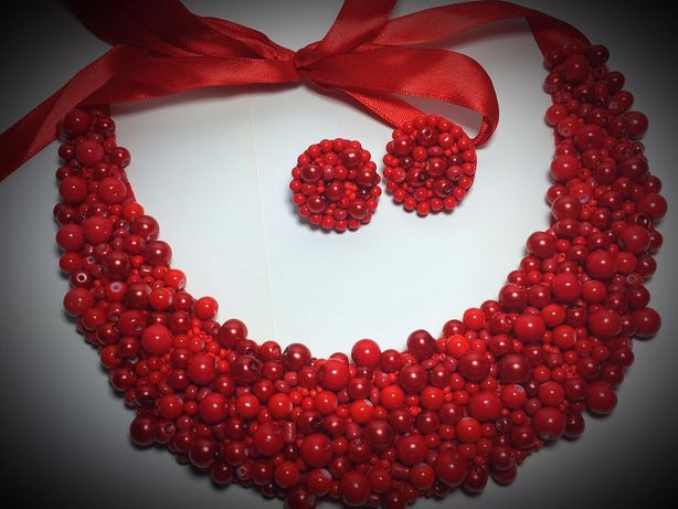 Colier si cercei handmade margele/perle rosii