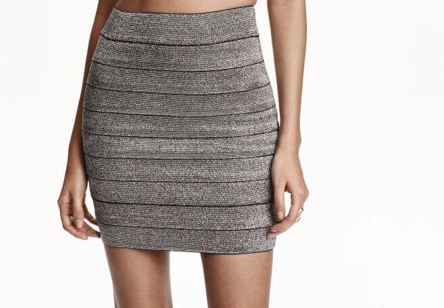 Fusta H&M argintie sclipici mulata ocazie eleganta elastica elastic