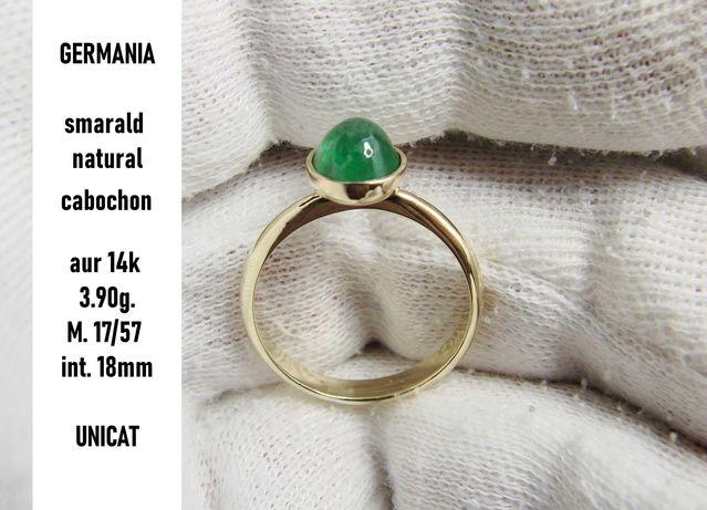 inel aur 14k cu smarald natural caboson masura 17 unicat