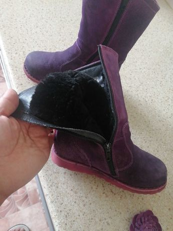 для девочек, зимние сапоги натуральный размер 27,  цвет фиолетовый