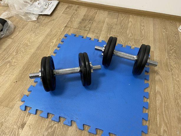 Gantere reglabile profesionale de 25 kg set, 12,5+12,5=25 kg noi.