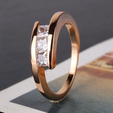 GR194, inel placat aur 18k, model superb, zirconiu alb