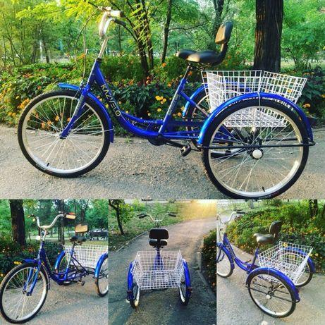 Трехколёсный велосипед для взрослых, грузовой, электро, для ДЦП.