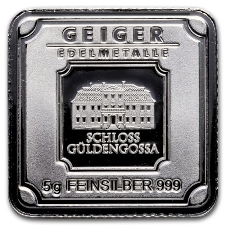 Lingou argint 999 , Geiger Edelmetalle Germania 5 grame