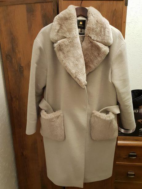 Пальто демисезонное, мех натуральная шиншилла