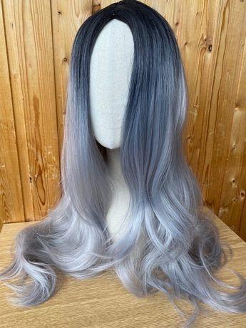 Длинные волосы парик, черное с серым омбре.