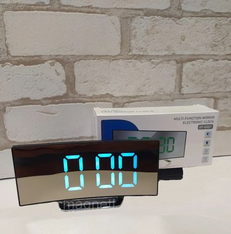Настолен дигитален огледален часовник с LED цифри, термометър и аларма