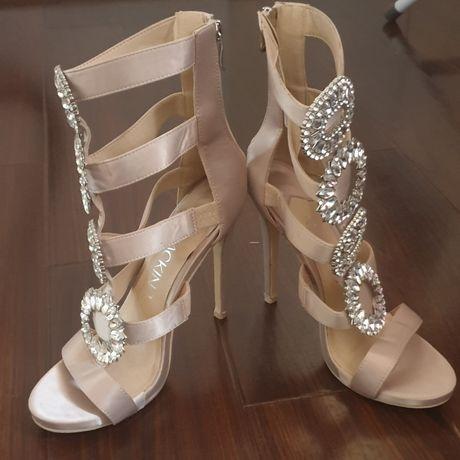 Sandale noi Mackin J, marimea 38, toc 12 cm, nude